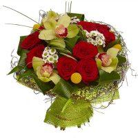 CYMBIDIUM CU TRANDAFIRI ROSII - ROSU CU VERDE - Flori in Baia Mare